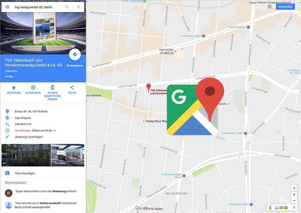 Unternehmen in Google Maps